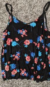 Torrid adjustable tank top black floral print